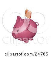 Clipart Illustration Of A Pink Piggy Bank With A Golden Padlock Over The Slot