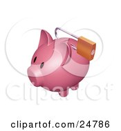 Clipart Illustration Of A Pink Piggy Bank With A Padlock Securing The Slot
