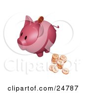 Clipart Illustration Of A Pink Piggy Bank With Stacks Of Dollar Coins One Coin Going Into The Slot by KJ Pargeter