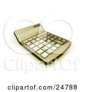 Clipart Illustration Of A Greenish Yellow Calculator With A Curved Display