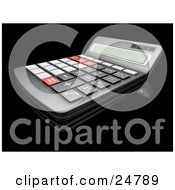 Clipart Illustration Of A Black Match Calculator With Gray Black And Red Buttons by KJ Pargeter