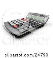 Black Calculator With Gray Black And Red Buttons As Seen From The Side
