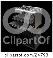 Professional Gas Oven With The Door Open And Trays Sticking Out