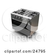 Clipart Illustration Of A Modern Gas Oven And Stove by KJ Pargeter