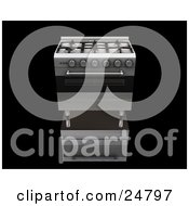 Professional And Modern Chrome Gas Oven And Stove Over A Reflective Black Surface