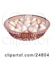 Clipart Illustration Of A Bunch Of Chicken Eggs In A Weaved Basket