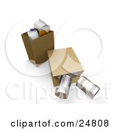 Clipart Illustration Of A Gallon Of Milk Carton Of Orange Juice And In Paper Shopping Bags A Tipped Bag With Tin Cans Rolling Out by KJ Pargeter