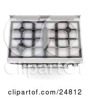 Professional Silver Gas Oven With Four Burners As Seen From Above