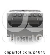 Professional Chrome Gas Oven With A Clear Window In The Stove Door