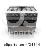 Clipart Illustration Of A Chrome Gas Stove And Oven With Four Burners And Round Knobs