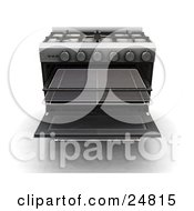 Professional Gas Oven With The Baking Racks Pulled Out
