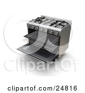 Clipart Illustration Of Baking Racks Pulled Out Of A Gas Oven by KJ Pargeter
