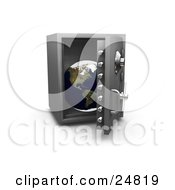 Clipart Illustration Of A Personal Safe With The Door Opening To Display The Globe Over White by KJ Pargeter