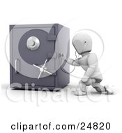 Poster, Art Print Of White Character Holding A Stethoscope Up To A Locked Personal Safe Over White