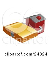 Clipart Illustration Of A Red Brick Home Locked With A Golden Padlock Symbolizing Foreclosure