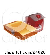 Clipart Illustration Of A Foreclosed Red Home Locked With A Golden Padlock by KJ Pargeter
