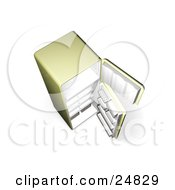 Clipart Illustration Of A Green Fridge With Open Doors And Empty Shelves As Seen From Above by KJ Pargeter