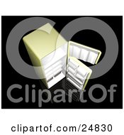 Clipart Illustration Of A Green Fridge On A Black Surface With Open Doors And Empty Shelves As Seen From Above by KJ Pargeter