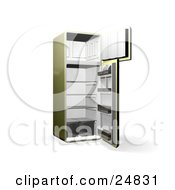 Clipart Illustration Of An Olive Green Refrigerator With Open Doors Showing An Empty Freezer And Cooling Section by KJ Pargeter
