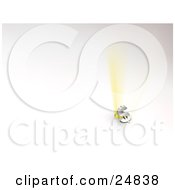 Clipart Illustration Of Golden Light Beams Bursting Behind A Silver Dollar Sign Over White