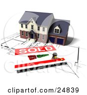 Clipart Illustration Of A Two Story Brick House With Two Garages On Top Of Blueprints With A Sold Sign by KJ Pargeter