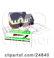 Clipart Illustration Of A Two Story Brick Home With Two Garages On Top Of Blueprints With A For Sale Sign by KJ Pargeter