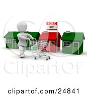 White Character Pushing A Shopping Cart In Front Of A Row Of Red And Green Homes One With A Sold Sign