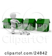 White Character Pushing A Shopping Cart In Front Of A Row Of Green Houses