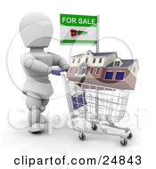 Clipart Illustration Of A White Character Trying To Sell A House Pushing It In A Shopping Cart With A For Sale Sign Over White