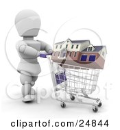 Clipart Illustration Of A White Character Shopping For A House Rolling It Around In A Shopping Cart Over White by KJ Pargeter