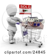 Clipart Illustration Of A White Character Agent Pushing A House In A Shopping Cart With A Sold Sign Over White by KJ Pargeter