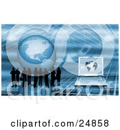 Clipart Illustration Of Silhouetted Business People Standing On A Blue Grid Surface With A Globe And Laptop Computer by KJ Pargeter