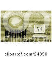 Clipart Illustration Of A Silhouetted Business People Standing On A Green Grid Surface With A Globe And Laptop Computer