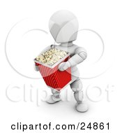 White Character In A Movie Theater Carrying A Large Bucket Of Popcorn