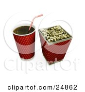Clipart Illustration Of A Red And Gold Fountain Soda Cup With A Straw By A Bucket Of Buttered Movie Popcorn