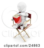 White Character Sitting In A Directors Chair And Eating Movie Popcorn