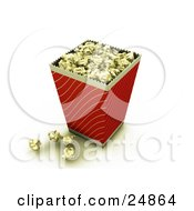 Red And Gold Bucket Of Buttery Movie Popcorn With Some Popcorn On The Counter