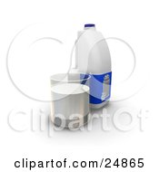 Gallon And A Glass Cup Of Milk