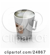 Clipart Illustration Of A Tall Cup Full Of Frothy Coffee With Three Beans Designed On The Front by KJ Pargeter