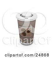 Clipart Illustration Of A Coffee Cup With A Hot Lid And Coffee Bean Image