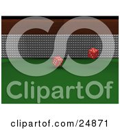 Clipart Illustration Of A Pair Of Red Dice Rolling Over A Green Casino Table