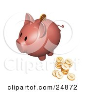 Clipart Illustration Of A Pink Piggy Bank With Stacks Of Sterling Coins One Coin Going Into The Slot by KJ Pargeter