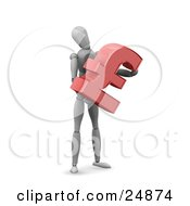Clipart Illustration Of A White Model Character Standing And Holding A Red Pound Sterling Symbol