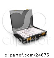 Clipart Illustration Of Twenty Pound Notes Stacked Inside An Open Black Briefcase