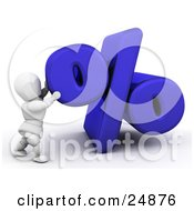 Clipart Illustration Of A White Character Pushing Up A Blue Percentage Symbol Symbolizing Percentage Rates For Loans