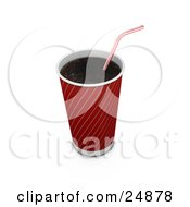 Clipart Illustration Of A Red And Gold Soda Cup Without A Lid And A Red Striped Straw