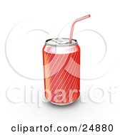 Clipart Illustration Of A Red And Gold Soda Can With A Straw Through The Drinking Tab