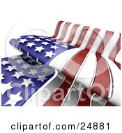 Clipart Illustration Of The Stars And Stripes Of The Red White And Blue American Flag Waving In The Breeze On Independence Day by KJ Pargeter