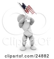 Clipart Illustration Of A Patriotic White Character Waving An American Flag On The Fourth Of July by KJ Pargeter