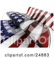 Clipart Illustration Of A Waving American Flag With Dark Red And White Stripes And Stars Over White by KJ Pargeter